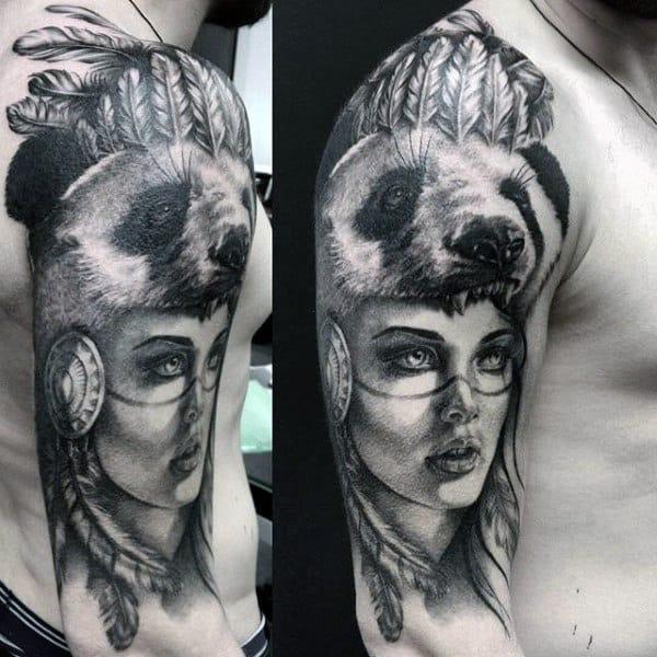 Panda Mask Helmet Mens Half Sleeve Tattoos
