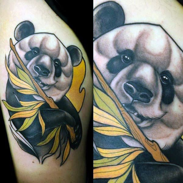Panda With Branch Male Upper Arm Tattos