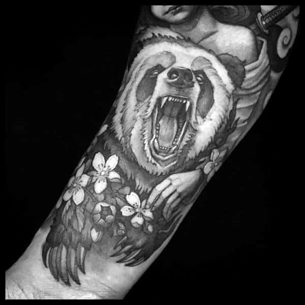 Panda With Flowers Mens Forearm Tattoos