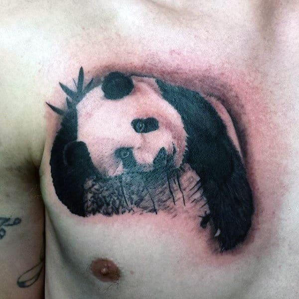 Panda With Hanging Arm Guys Chest Tattoo Designs