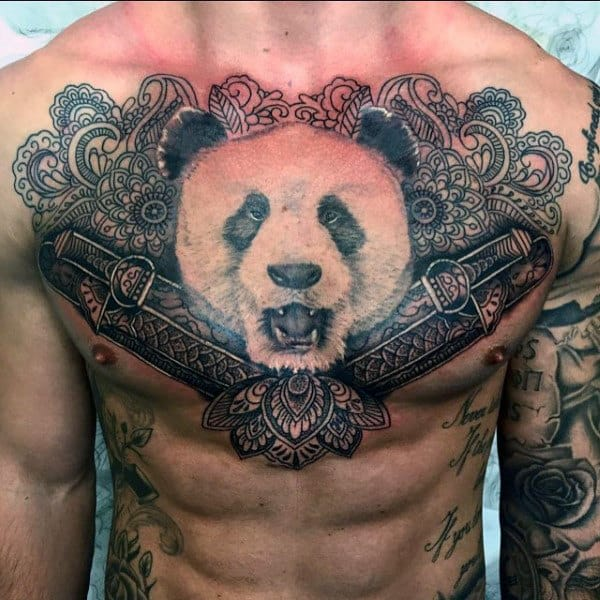 Panda With Swords Mens Chest Tattoos