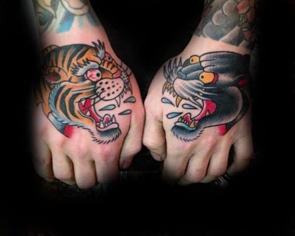 Panther And Tiger Traditional Hand Tattoos For Guys