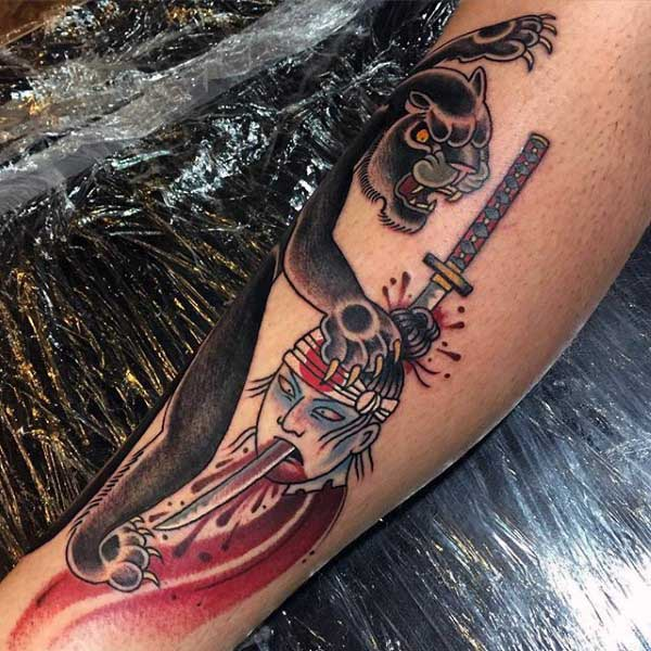 Panther Tattoo Traditional Style For Men
