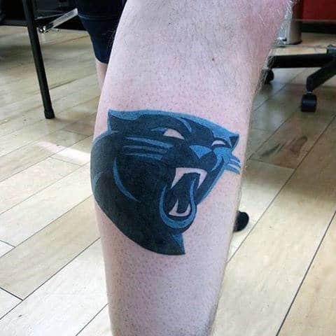 Panthers Mens Football Nfl Tattoo On Lower Leg