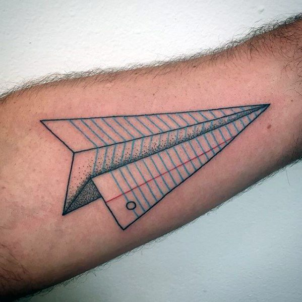 Paper Airplane Awesome Simple Mens Forearm Tattoos