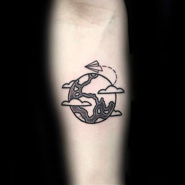 Paper Airplane Flying Around Globe Mens Small Forearm Tattoo
