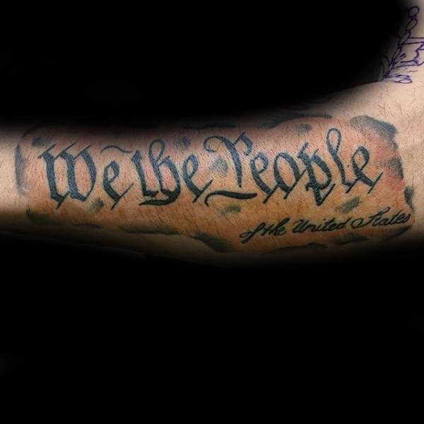Paper We The People Male Forearm Tattoo