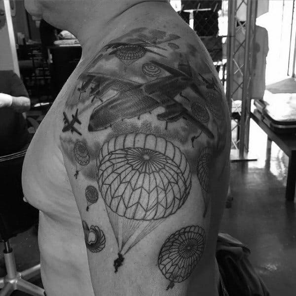Parachutes With Planes Mens Upper Arm Ww2 Tattoo