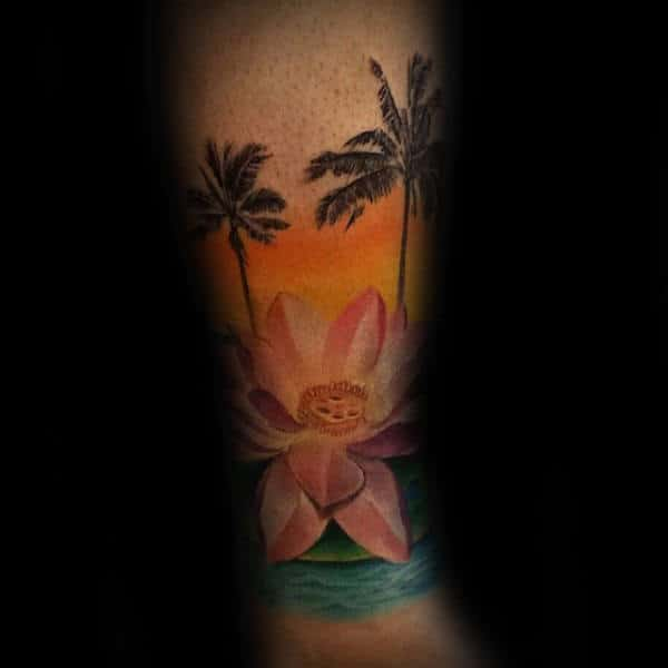 Paradise Lotus Flower Palm Tree Mens Forearm Tattoos