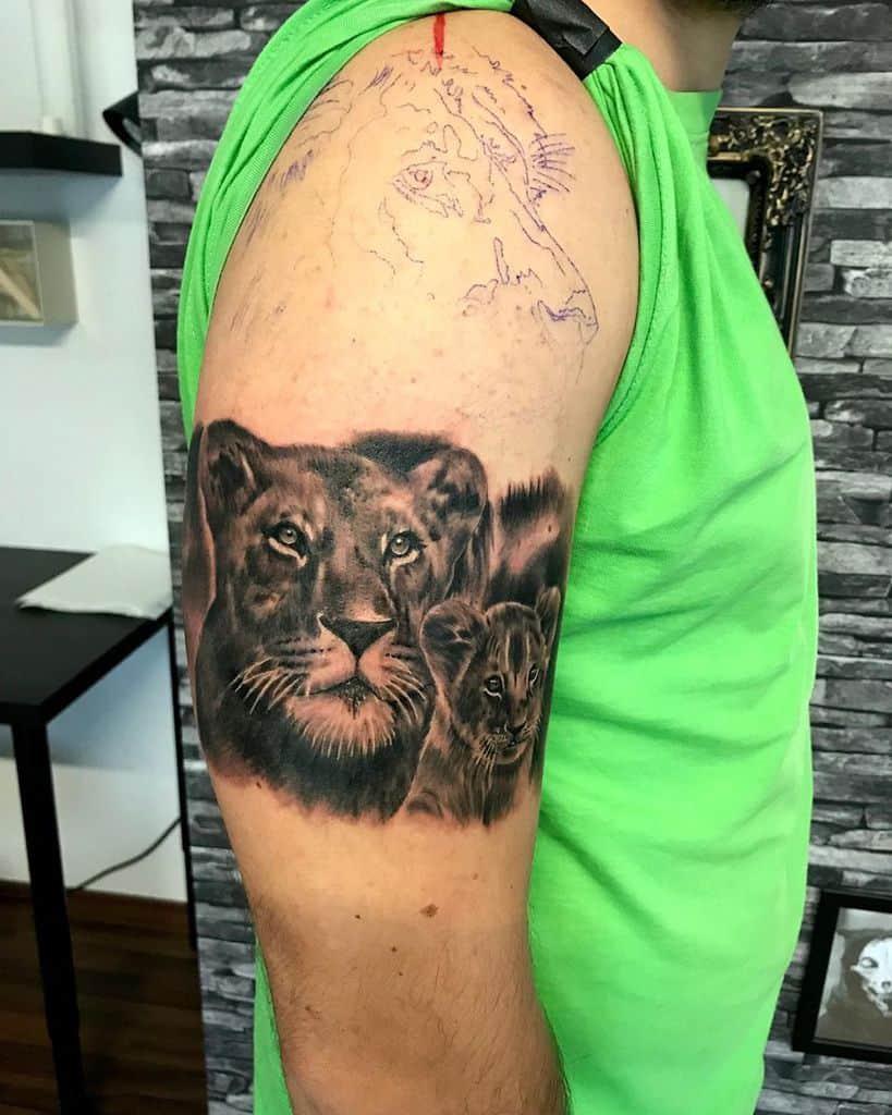 Paranoid Dark Art Ink Lioness Tattoo