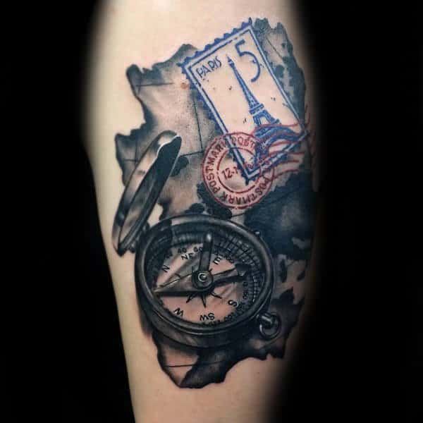 Paris Stamp With Compass And Map Travel Arm Tattoos For Men