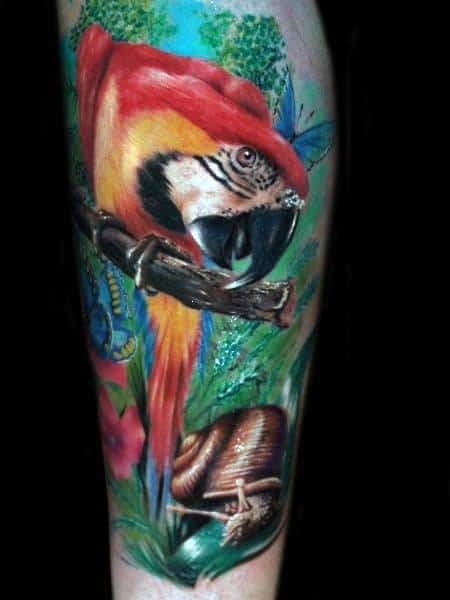 Parrot Tattoo On Mens Forearm