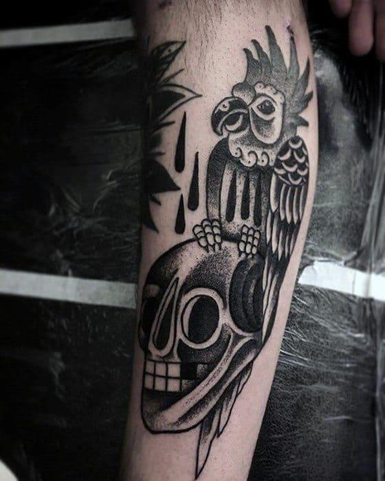 Parrot Tattoos For Gentlemen On Inner Arm