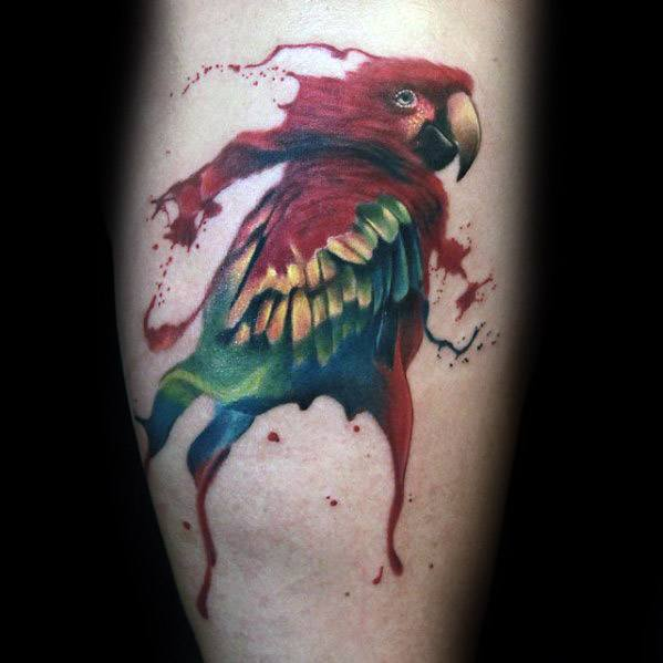 Parrot Tattoos Guys Watercolor Leg Calf Design