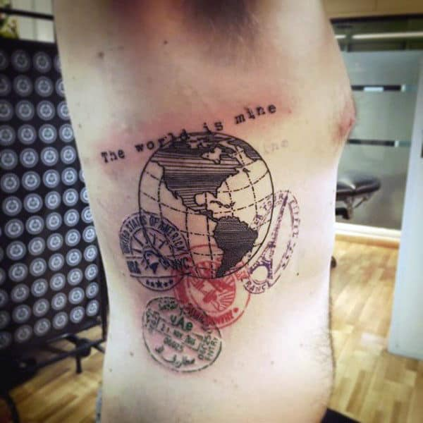 Passport Stamps Mens Rib Cage Side Travel Tattoo
