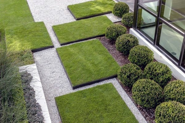Patches Of Green Grass Modern Landscape Design Exterior