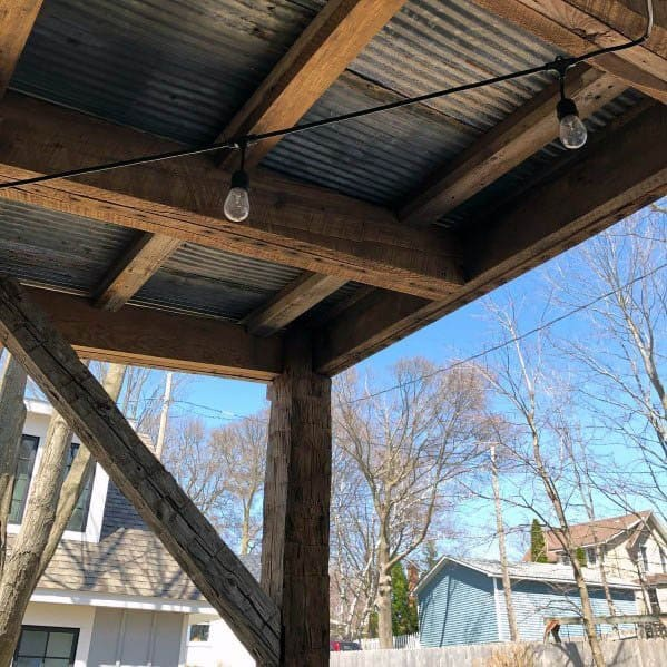 Patio Ceiling Ideas Inspiration Tin With Rustic Wood Beams