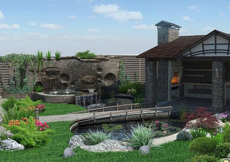 Patio Horticultural Background Backyard Garden Pond