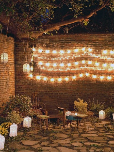 Patio String Light Ideas Attached To Privacy Fence