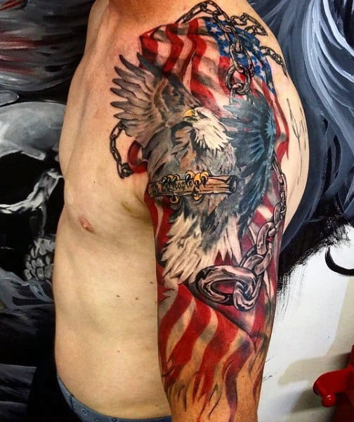 Patriotic American Flag Arm Chain Tattoo On Man