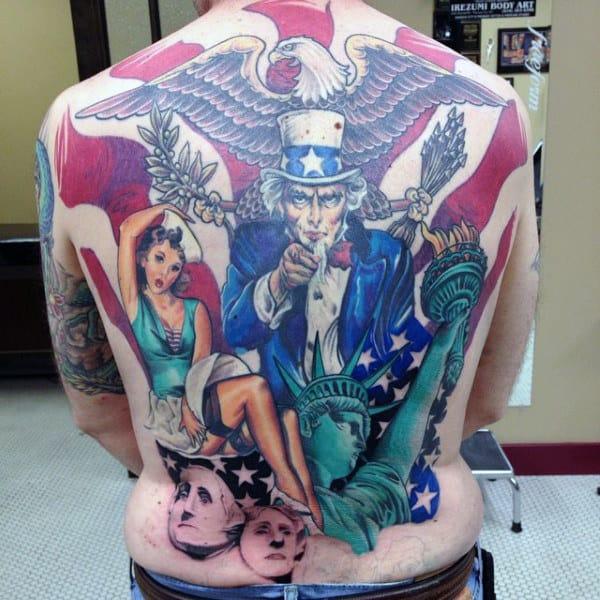 Patriotic Themed Mens Full Back Tattoos
