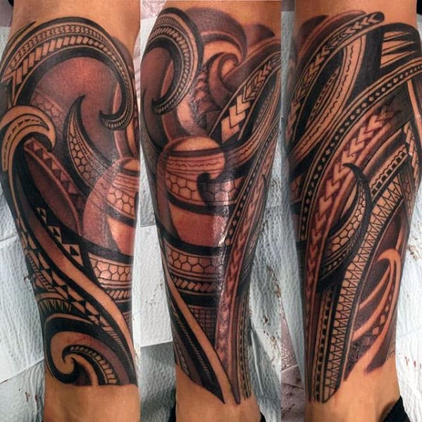 40 polynesian leg tattoo designs for men manly tribal ideas for Thigh sleeve tattoo