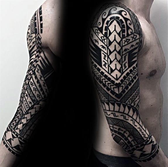 Pattern Black Ink Hawaiian Tribal Tattoo Designs For Men Half Sleeve