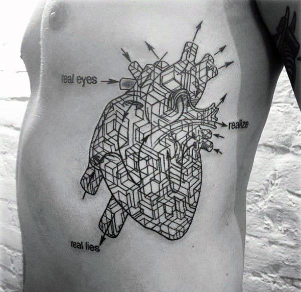 Pattern Cubes Geometric Heart Rib Cage Side Tattoo On Gentleman