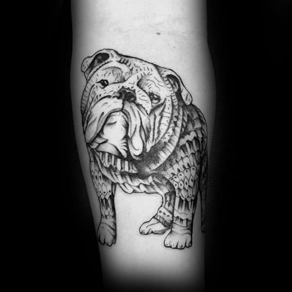 Pattern Detailed Guys Inner Forearm Bulldog Tattoos