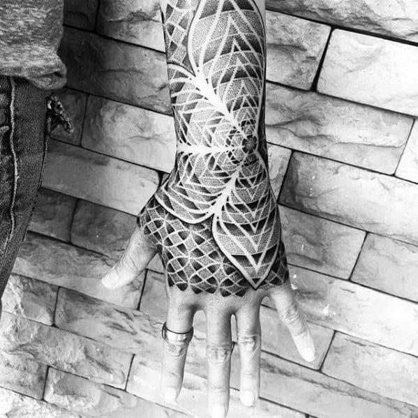 Pattern Distinctive Male Geometric Hand Tattoo Designs