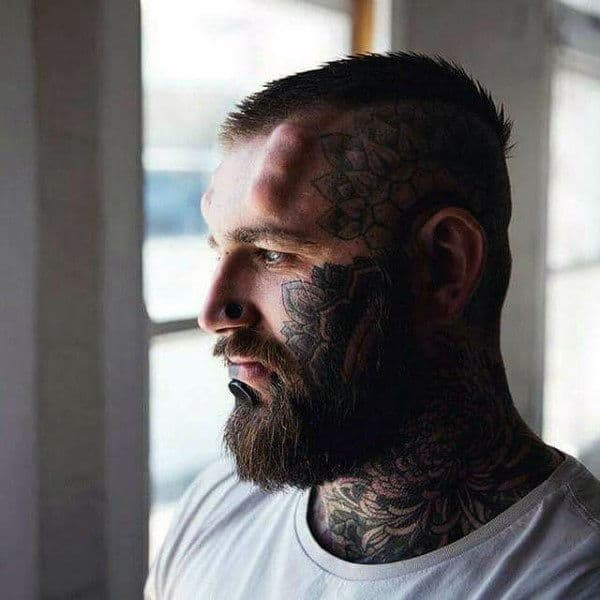 Pattern Face Floral Tattoos For Guys