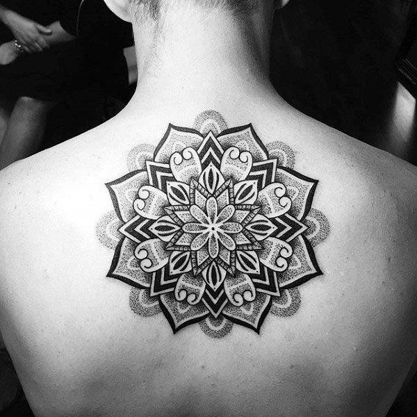Pattern Floral Pointillism Mens Upper Back Tattoo