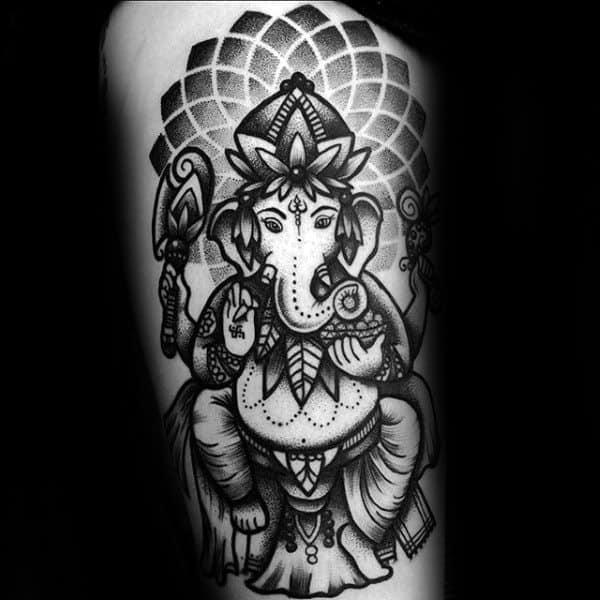 Pattern Ganesh Arm Tattoo On Male