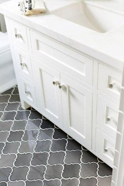 Pattern Grey Bathroom Tile Ideas With White Vanity And Countertop