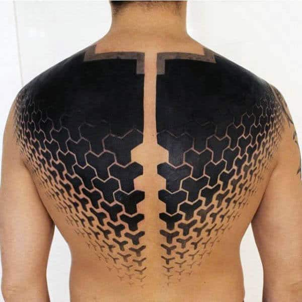 Pattern Half Back Mens Negtive Space Black Ink Tattoo Design Ideas