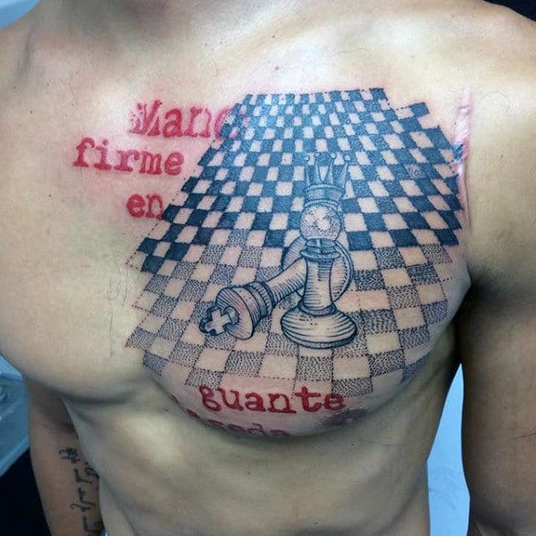 Pattern King Chess Piece Mens Abstract Chest Tattoo