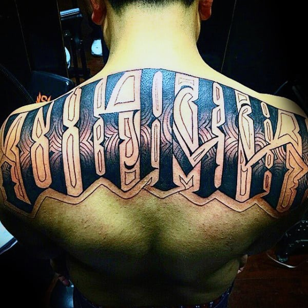 Pattern Last Name Mens Upper Back Tattoo Design