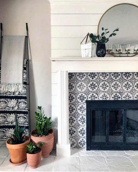 Pattern Look Painted Fireplace Home Ideas