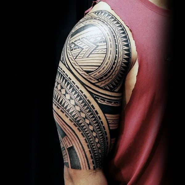 Pattern Male Half Sleeve Tribal Samoan Tattoo Design Inspiration