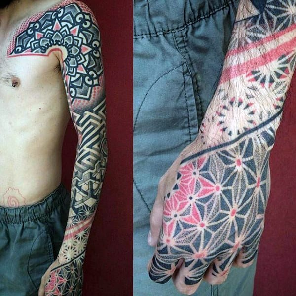Pattern Mens Geometrical Unique Sleeve Tattoo