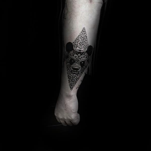 Pattern Mens Panda Bear Forearm Tattoos