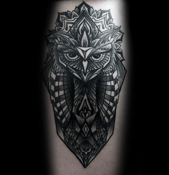 Pattern Mens Unique Geometric Owl Tattoo On Forearm