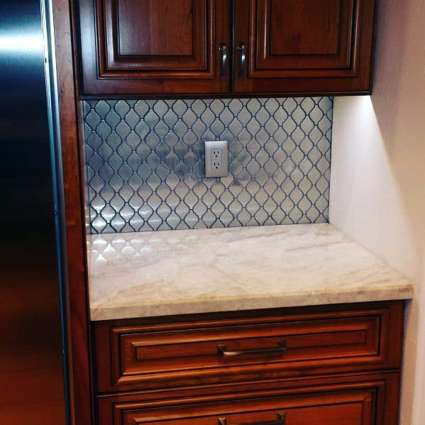 Pattern Metal Backsplash Ideas With Wood Cabients