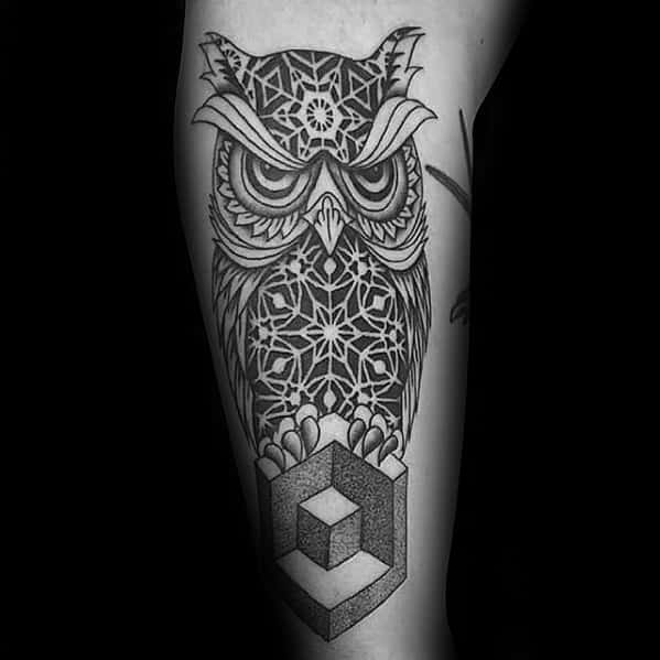 Pattern Negative Space With Cube Mens Geometric Owl Arm Tattoo