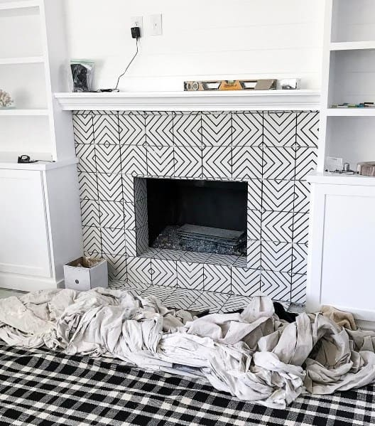 Pattern Ornate Fireplace Tile Ideas