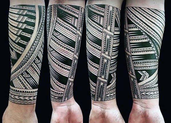 Pattern Polynesian Tribal Guys Forearm Tattoo Designs