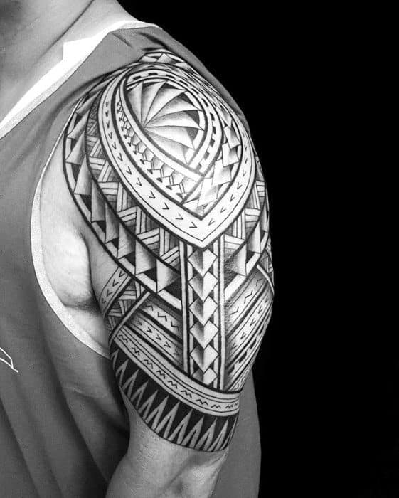 Pattern Polynesian Tribal Half Slevee Tattoos For Guys