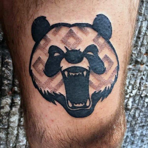 Pattern Roaring Panda Bear Mens Thigh Tattoo Designs