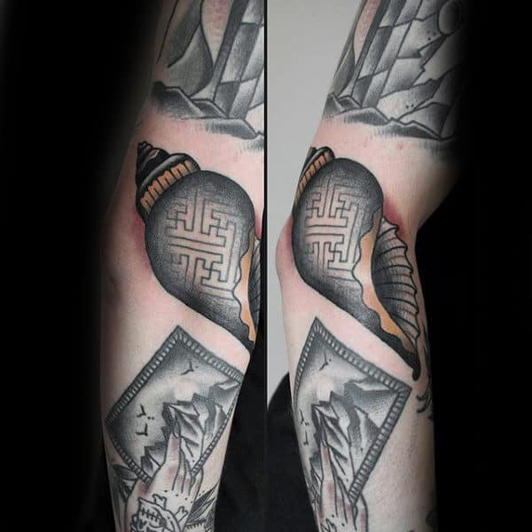 Pattern Seashell Mens Arm Tattoo