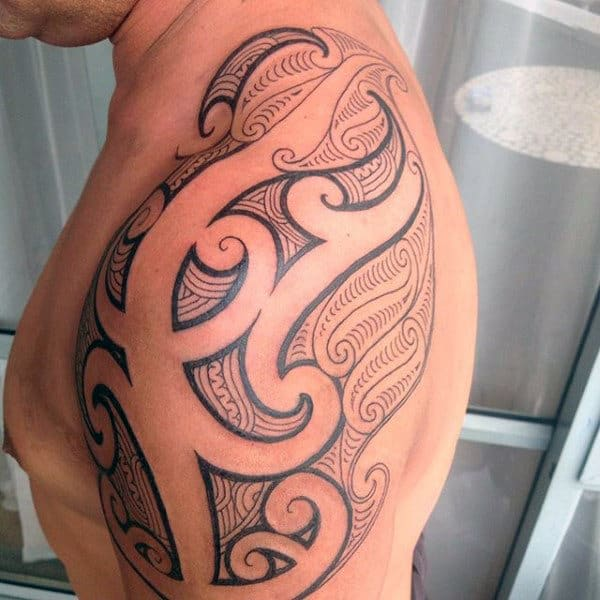 Pattern Shoulder Tribal Mens Tattoos